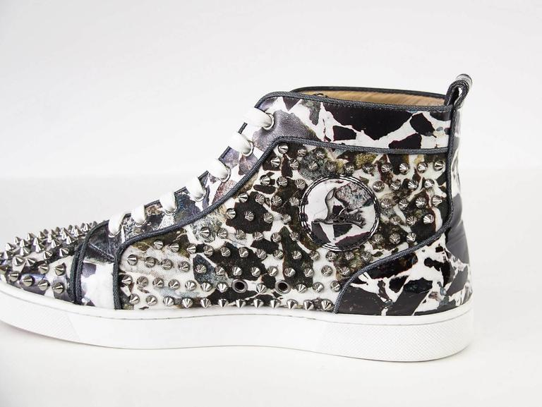 Christian Louboutin Louis Flat Patent Carr Spikes High Top Sneaker 42.5 / 5