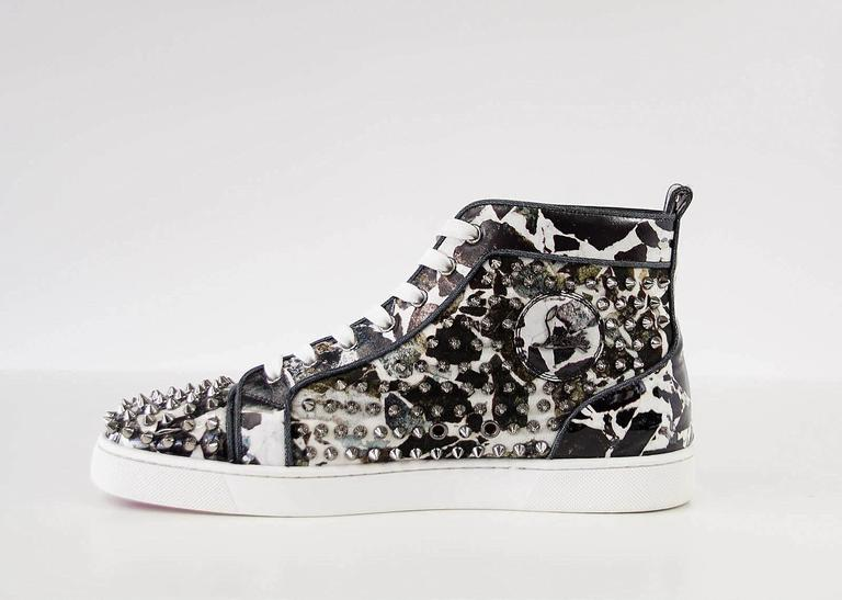 Christian Louboutin Louis Flat Patent Carr Spikes High Top Sneaker 42.5 / 6