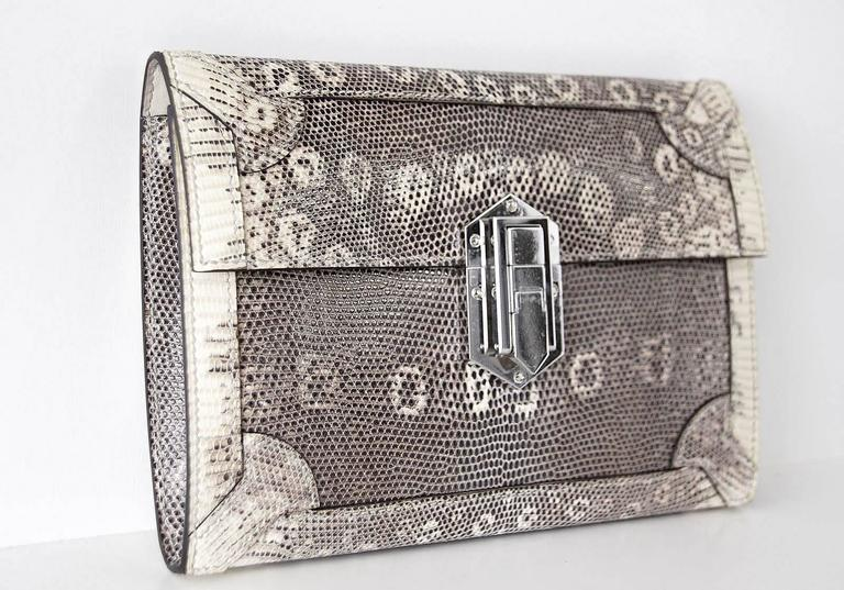 Hermes Fleche D'Or Clutch Bag Ombre Lizard Limited Edition rare  2