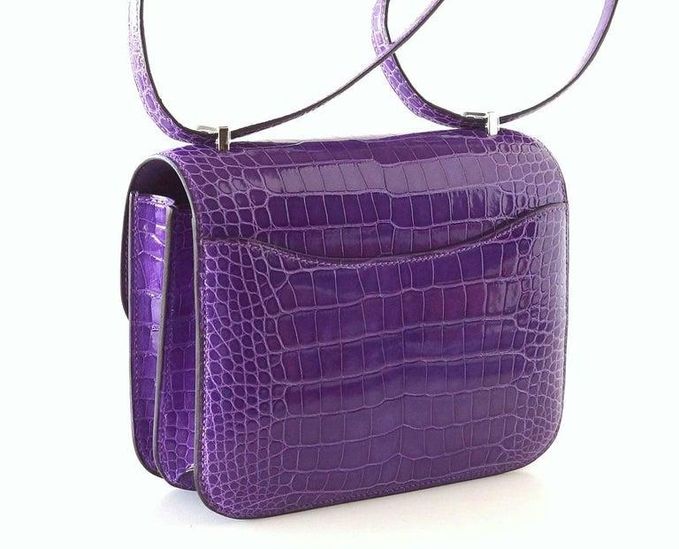 Purple Hermes Constance Bag Rare 18 cm Ultra Violet Alligator Palladium 2die4 For Sale