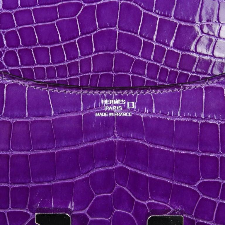 Hermes Constance Bag Rare 18 cm Ultra Violet Alligator Palladium 2die4 For Sale 5