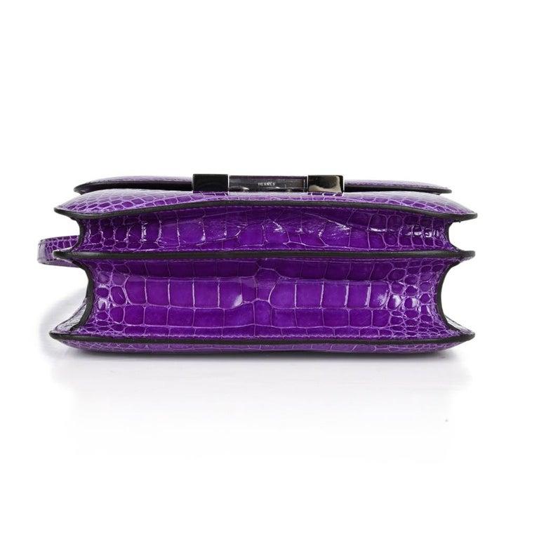 Hermes Constance Bag Rare 18 cm Ultra Violet Alligator Palladium 2die4 For Sale 6