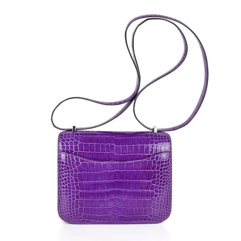 Hermes Constance Bag Rare 18 cm Ultra Violet Alligator Palladium 2die4 For Sale 2
