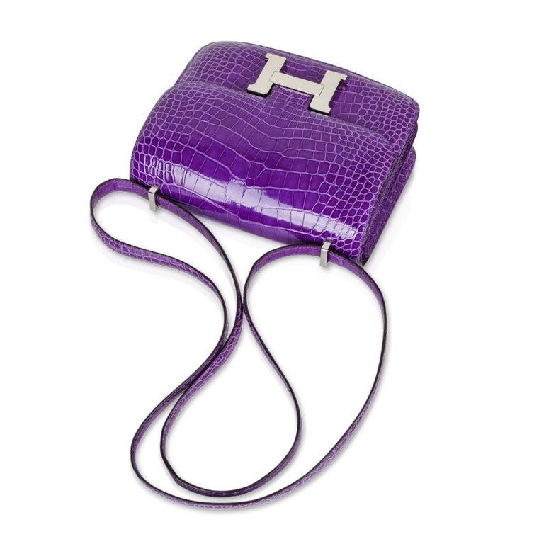 Hermes Constance Bag Rare 18 cm Ultra Violet Alligator Palladium 2die4 For Sale 1