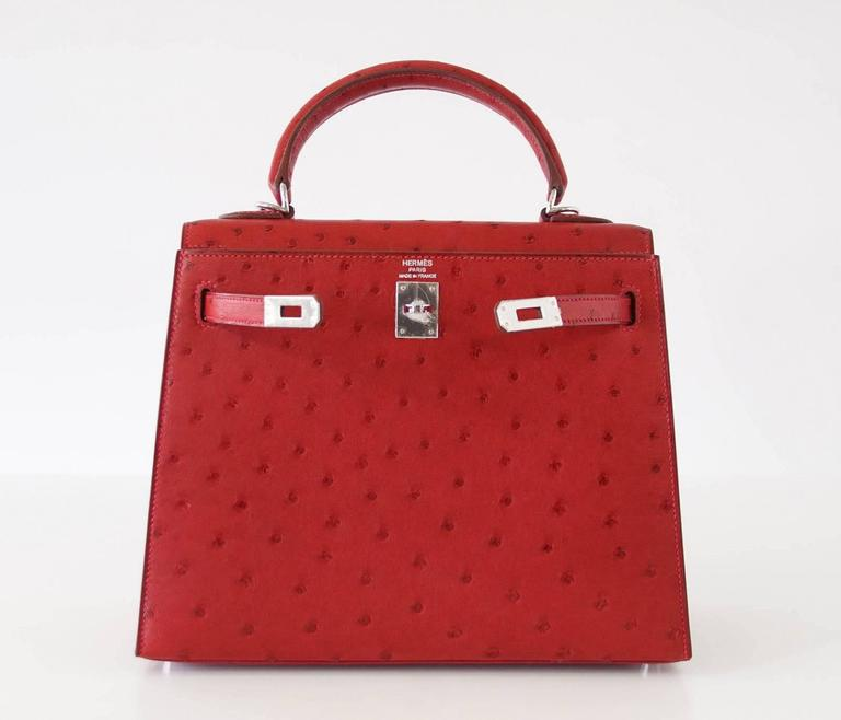 Hermes Kelly Sellier 25 Bag Ostrich Rare Rouge Vif Pink Topstitch Palladium 2
