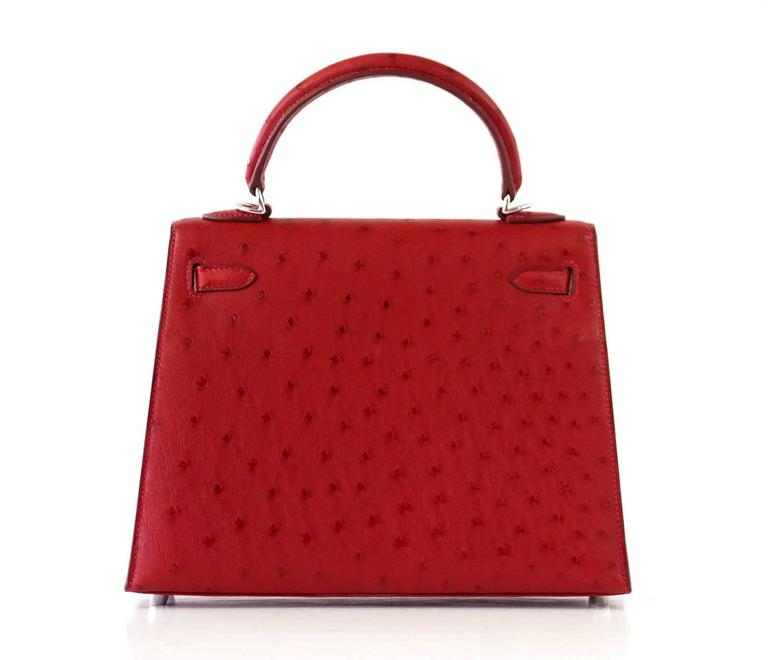 Hermes Kelly Sellier 25 Bag Ostrich Rare Rouge Vif Pink Topstitch Palladium 5