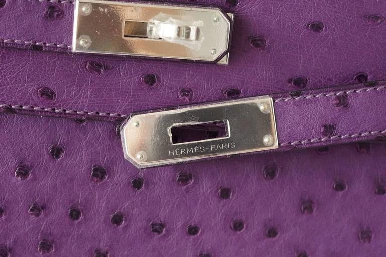 Hermes Kelly 35 Ostrich Rare Purple Violine Jewel Palladium Hardware In New Never_worn Condition For Sale In Miami, FL
