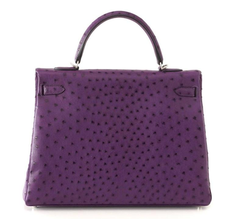 Women's Hermes Kelly 35 Ostrich Rare Purple Violine Jewel Palladium Hardware For Sale
