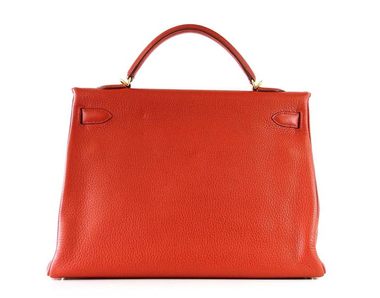 Hermes Kelly Retourne 40 Bag Red Rouge Garrance Togo Gold Hardware For Sale 1