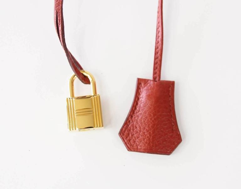Women's Hermes Kelly Retourne 40 Bag Red Rouge Garrance Togo Gold Hardware For Sale