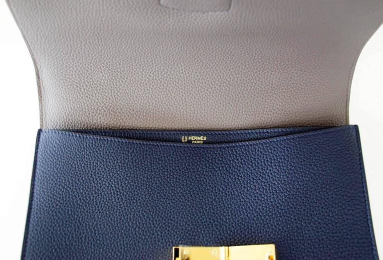 Hermes Sac A Depeche 27 Bag Horseshoe Blue Nuit / Etain Togo Gold In New Condition For Sale In Miami, FL
