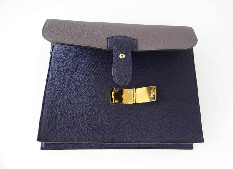 Hermes Sac A Depeche 27 Bag Horseshoe Blue Nuit / Etain Togo Gold 6