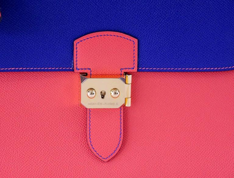 Guaranteed authentic very rare Sac a Depeche 27 Horseshoe Horizons   Limited Edition.  Vibrant Electric Blue and Rose Jaipur in Epsom leather.  Top stitch contrast detail.  Gold hardware.     The bag comes with keys, clochette, box and sleeper.