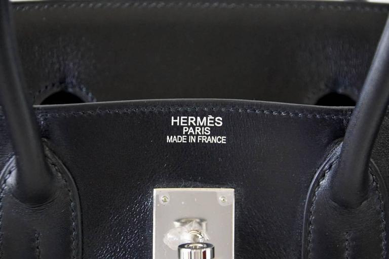 HERMES BIRKIN 35 Bag Black Rare Box Leather Palladium Hardware 2