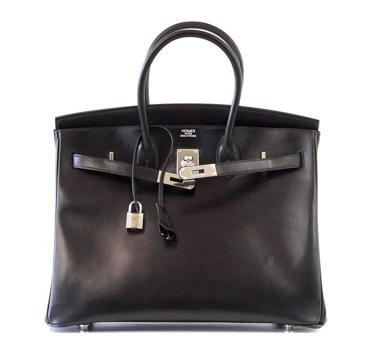 Hermes Birkin 35 Bag Black Rare Box Leather Palladium Hardware 5
