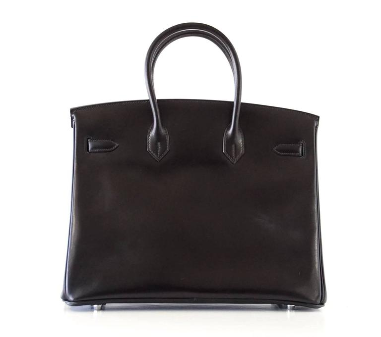 Hermes Birkin 35 Bag Black Rare Box Leather Palladium Hardware 6
