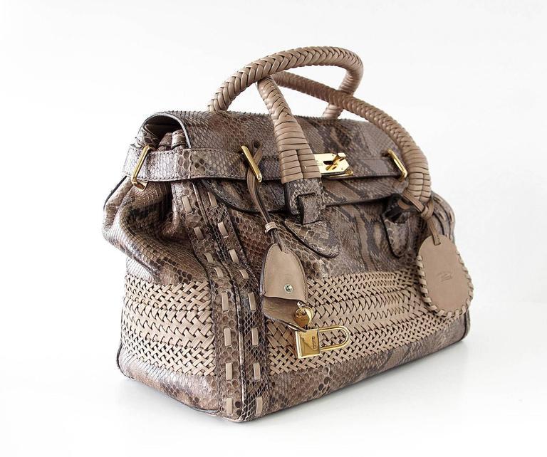 GUCCI Bag Snakeskin Taupe Satchel Rich Details Gold Hardware mint 2