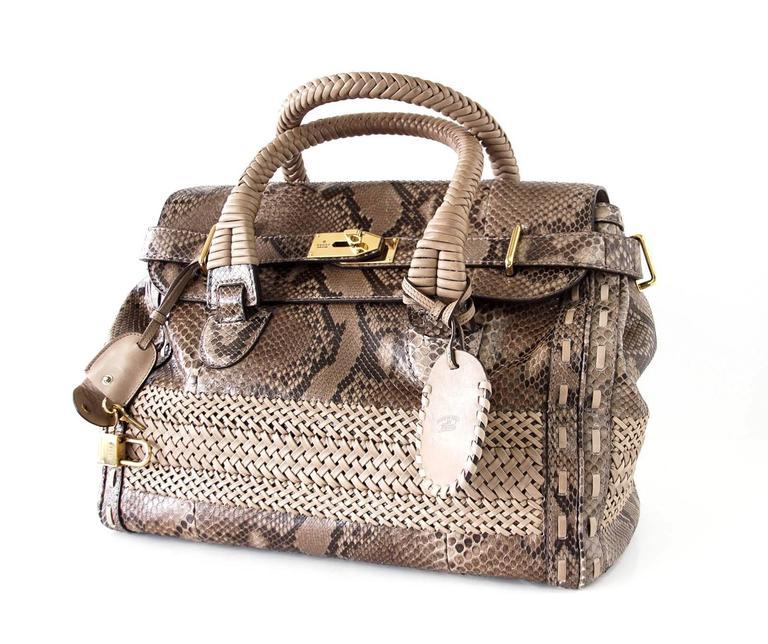 GUCCI Bag Snakeskin Taupe Satchel Rich Details Gold Hardware mint 3