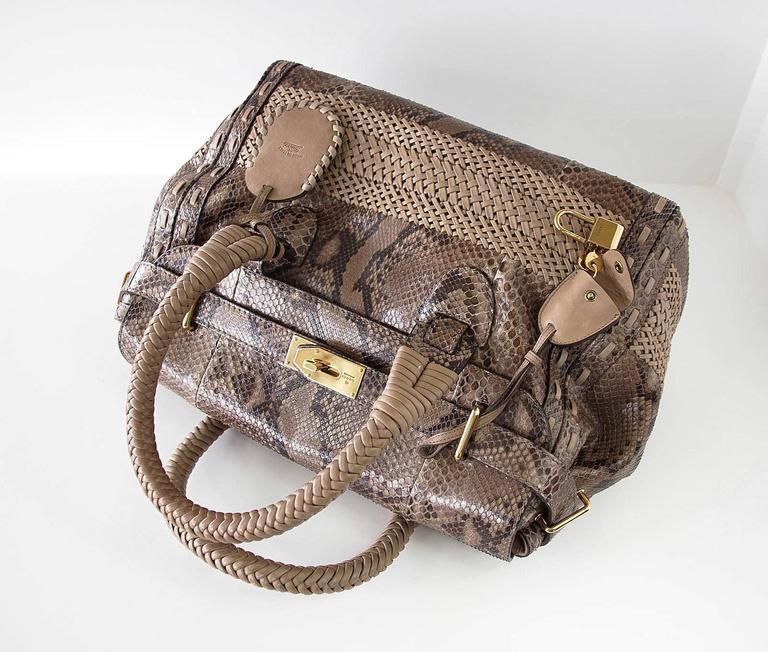GUCCI Bag Snakeskin Taupe Satchel Rich Details Gold Hardware mint 4