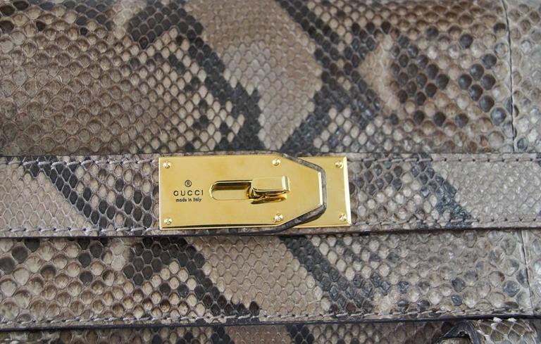 GUCCI Bag Snakeskin Taupe Satchel Rich Details Gold Hardware mint 5