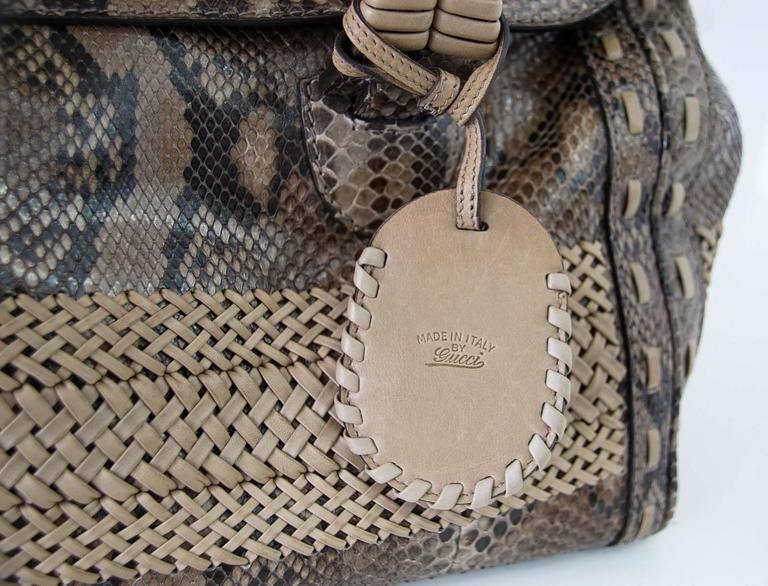 GUCCI Bag Snakeskin Taupe Satchel Rich Details Gold Hardware mint 6