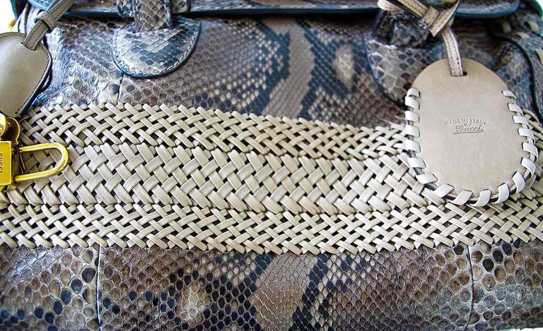 GUCCI Bag Snakeskin Taupe Satchel Rich Details Gold Hardware mint 7