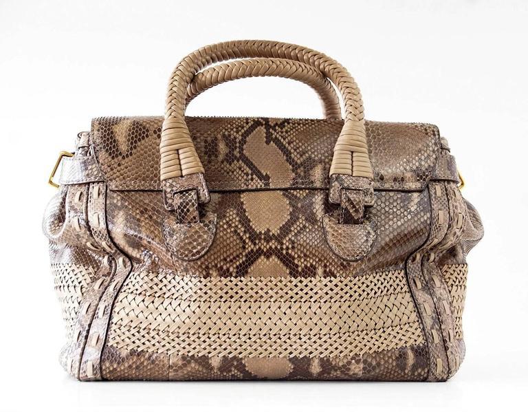 GUCCI Bag Snakeskin Taupe Satchel Rich Details Gold Hardware mint 8