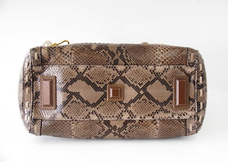 GUCCI Bag Snakeskin Taupe Satchel Rich Details Gold Hardware mint 9