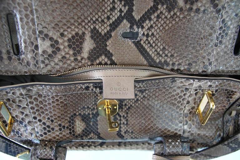 GUCCI Bag Snakeskin Taupe Satchel Rich Details Gold Hardware mint 10