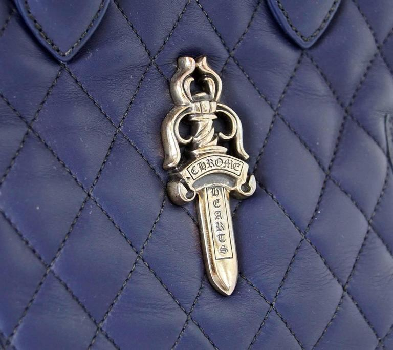 Purple Chrome Hearts Bag Quilted Navy Sterling Silver Hardware Charming For Sale