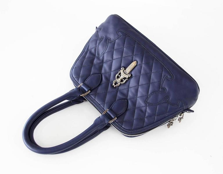 Chrome Hearts Bag Quilted Navy Sterling Silver Hardware Charming In Excellent Condition For Sale In Miami, FL