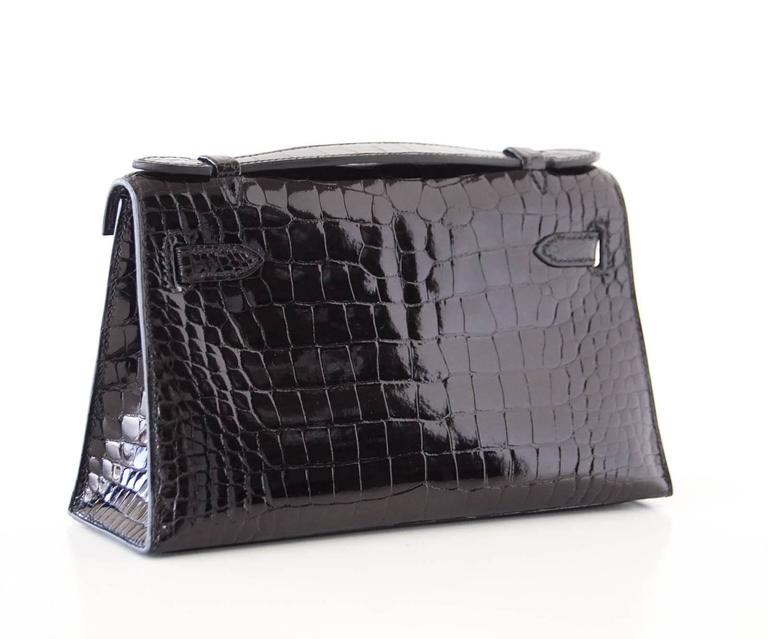 Hermes Kelly Pochette Clutch Bag Shiny Black Alligator Gold 3