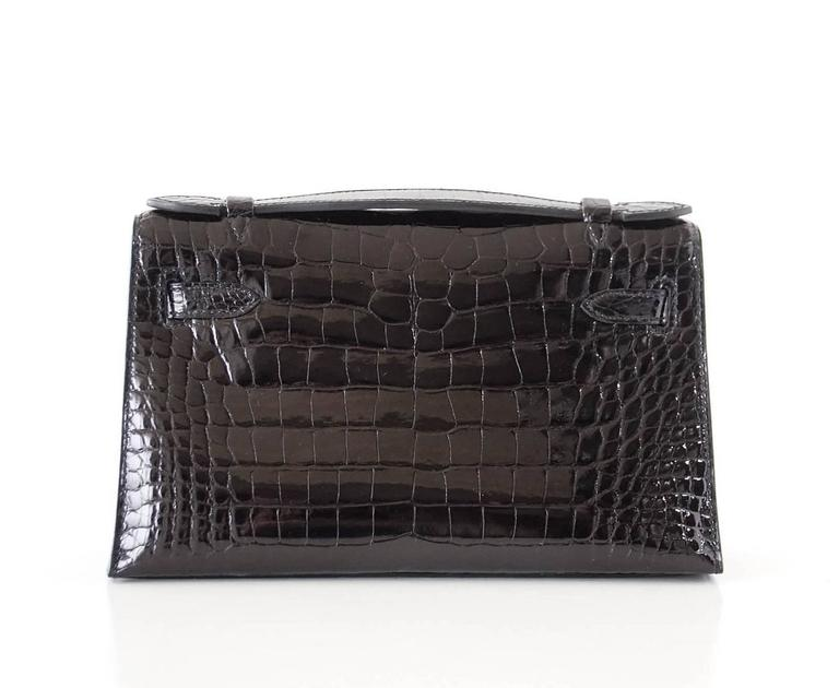 Hermes Kelly Pochette Clutch Bag Shiny Black Alligator Gold 4