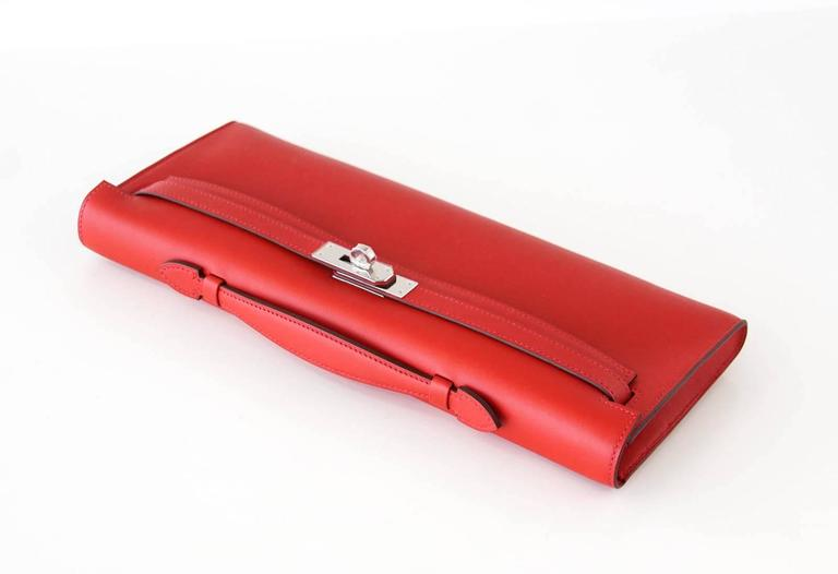 Hermes Kelly Cut Vermillion Red Clutch Bag Swift Palladium In New Condition For Miami