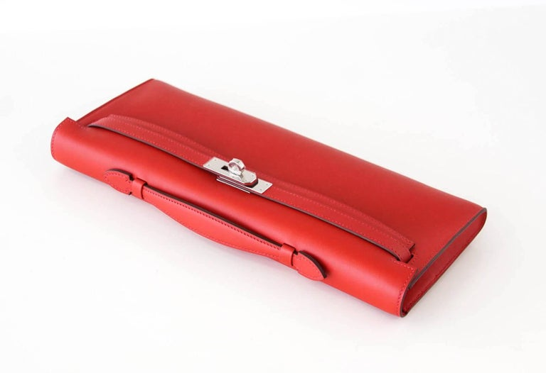 Hermes Kelly Cut Vermillion Red Clutch Bag Swift Palladium In New Condition For Sale In Miami, FL