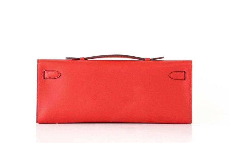 Women's Hermes Kelly Cut Vermillion Red Clutch Bag Swift Palladium For Sale