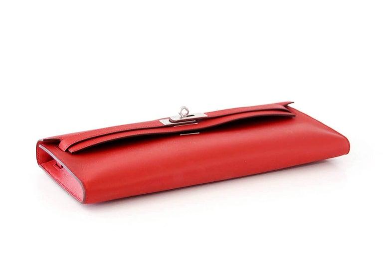 Hermes Kelly Cut Vermillion Red Clutch Bag Swift Palladium For Sale 2
