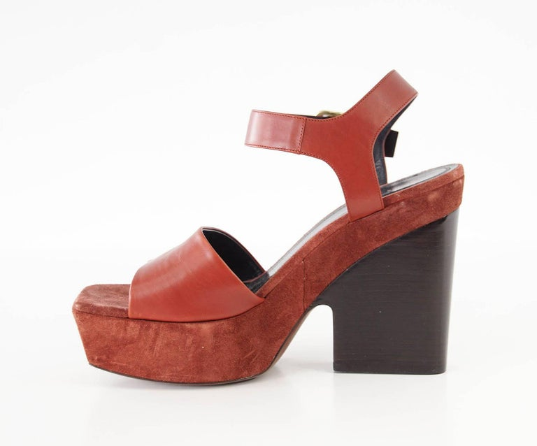 Celine Shoe Leather w/ Suede Platform Shaped Wood Stacked Heel 39.5 / 9.5  2