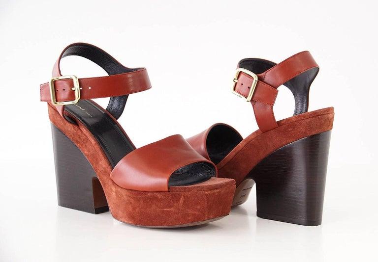 Celine Shoe Leather w/ Suede Platform Shaped Wood Stacked Heel 39.5 / 9.5  3