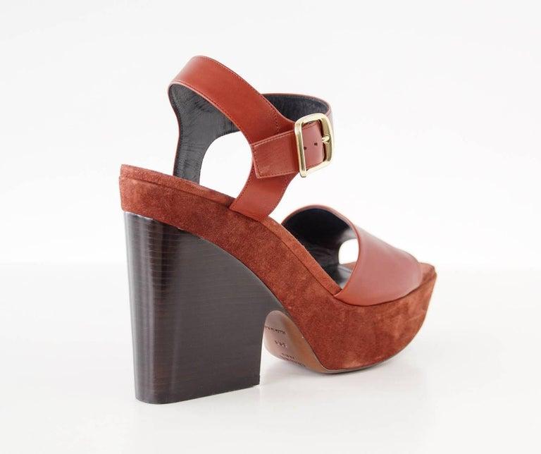 Celine Shoe Leather w/ Suede Platform Shaped Wood Stacked Heel 39.5 / 9.5  4
