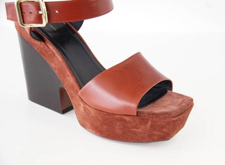 Celine Shoe Leather w/ Suede Platform Shaped Wood Stacked Heel 39.5 / 9.5  5