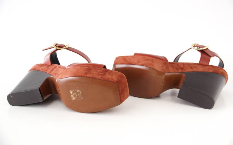 Celine Shoe Leather w/ Suede Platform Shaped Wood Stacked Heel 39.5 / 9.5  6