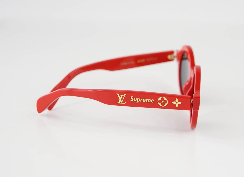 e198fdbeb3df6 Louis Vuitton Supreme X Ltd Ed Round Red Downtown Sunglasses at 1stdibs