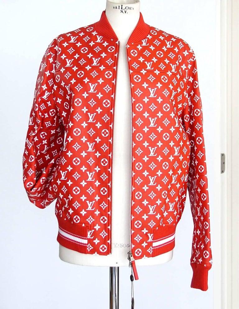 louis vuitton supreme x leather bomber varsity jacket monogram ltd ed size 50 for sale at 1stdibs