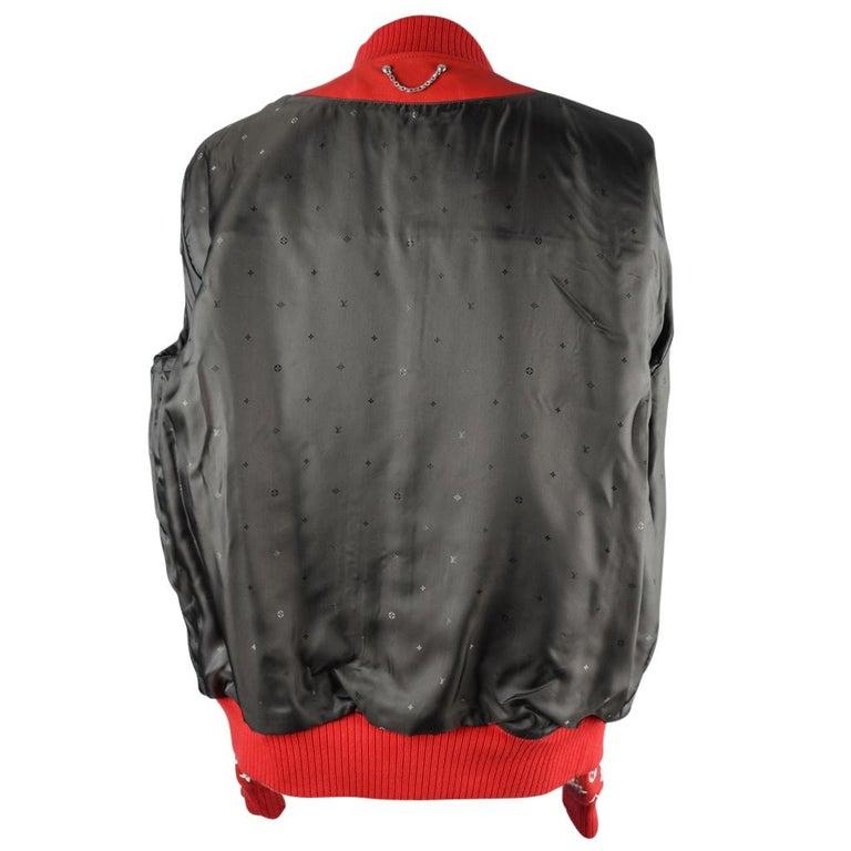 8ab420c88 Louis Vuitton Supreme X Leather Bomber Varsity Jacket Monogram Ltd Ed size  50 For Sale 8