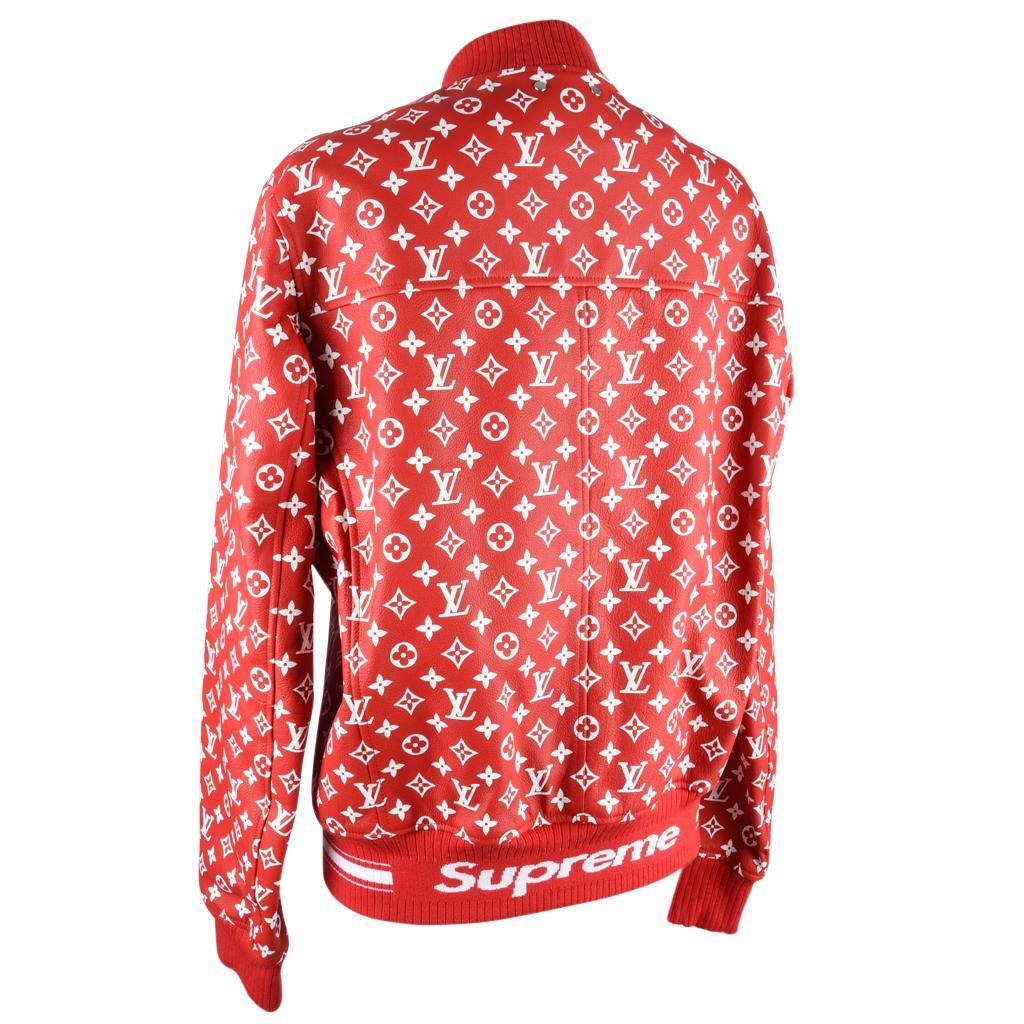 d95dc77ea17 Louis Vuitton Supreme X Leather Bomber Varsity Jacket Monogram Ltd Ed size  50 For Sale at 1stdibs
