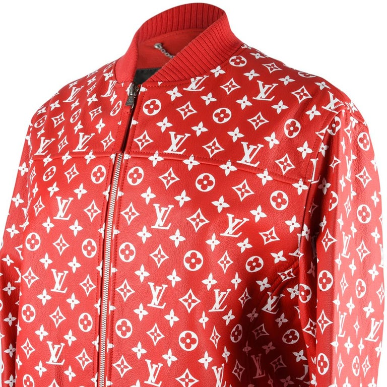 f9e3fe4720b Red Louis Vuitton Supreme X Leather Bomber Varsity Jacket Monogram Ltd Ed  size 50 For Sale