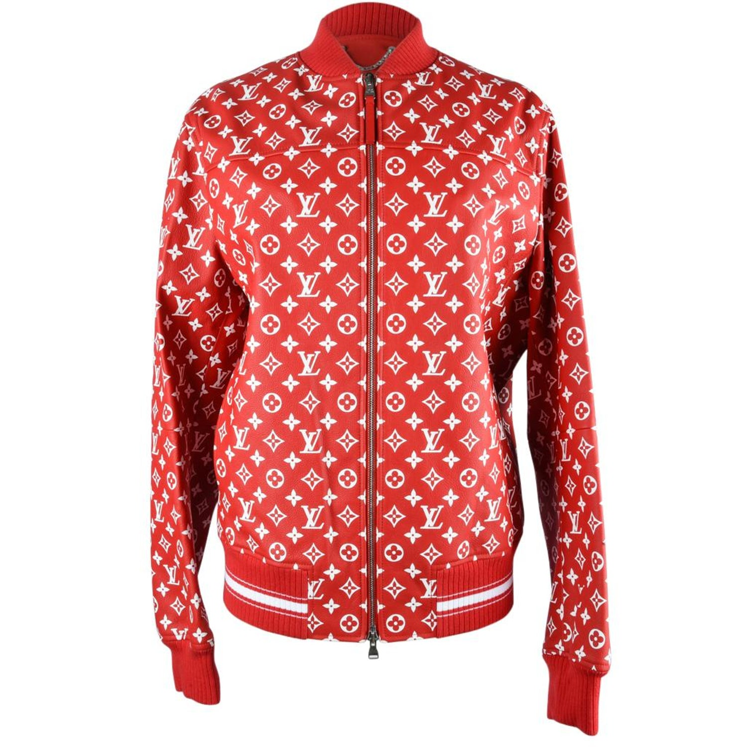 7076a62a8959 Louis Vuitton Supreme X Leather Bomber Varsity Jacket Monogram Ltd Ed size  50 For Sale at 1stdibs