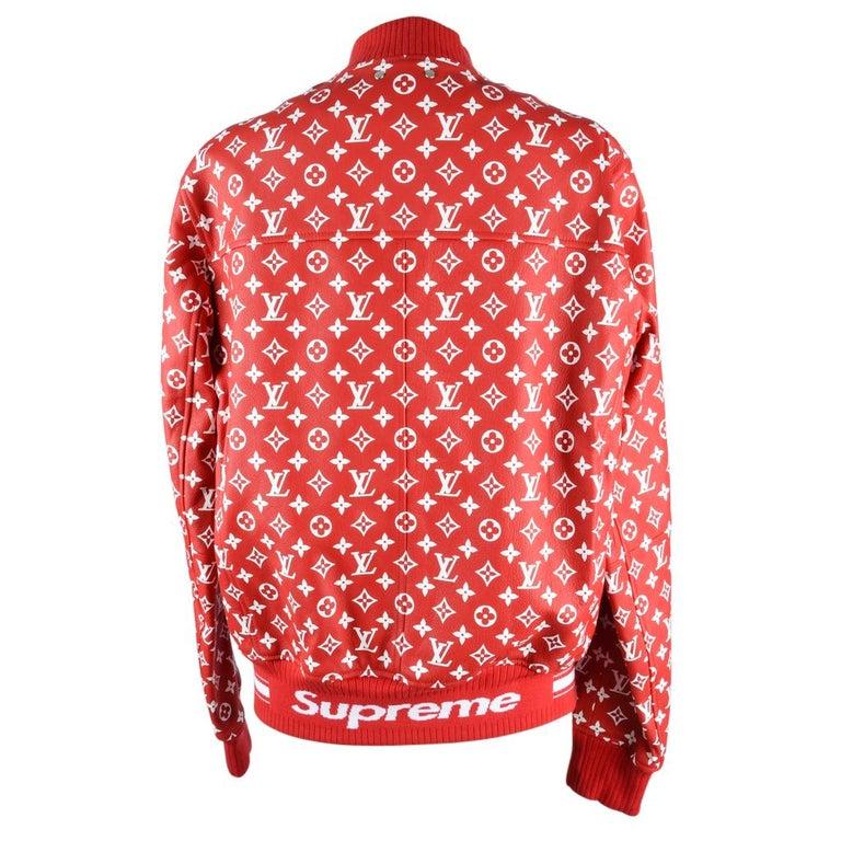 326225d2b Louis Vuitton Supreme X Leather Bomber Varsity Jacket Monogram Ltd Ed size  50 For Sale 6