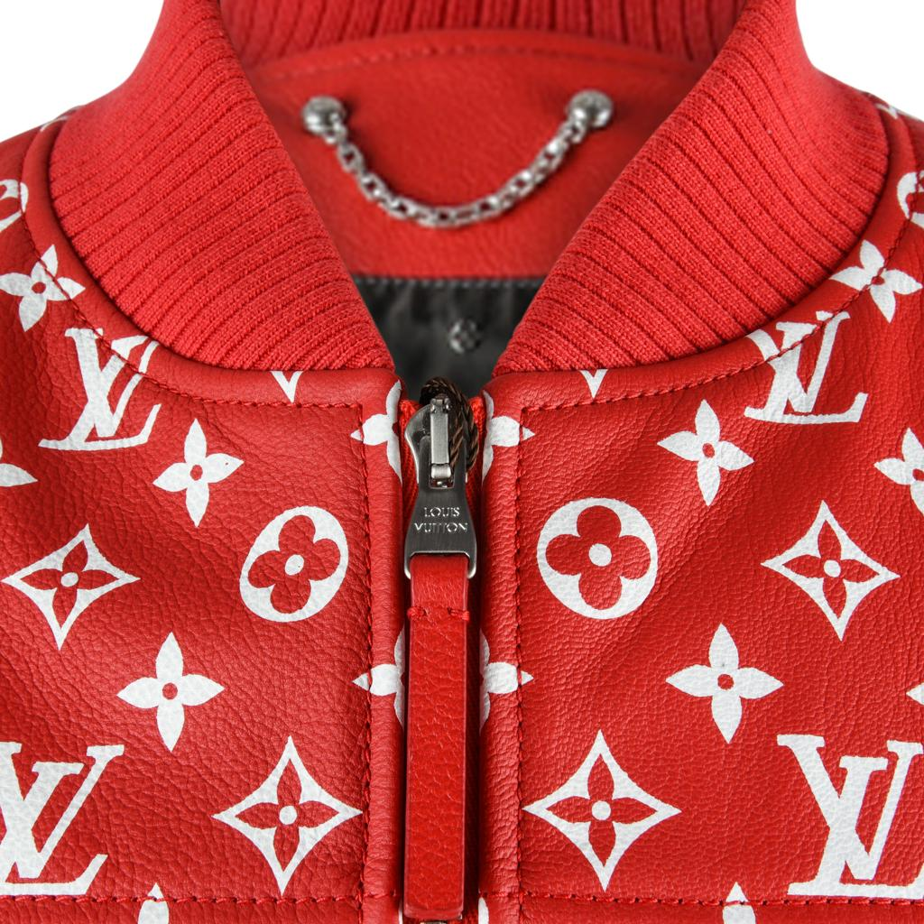 42fb89329833d Louis Vuitton Supreme X Leather Bomber Varsity Jacket Monogram Ltd Ed size  50 For Sale at 1stdibs